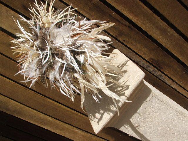 Cascading feathers. So soft So beautiful #weddingbouquets, #funkywedding, #feathers, #bridalflowers