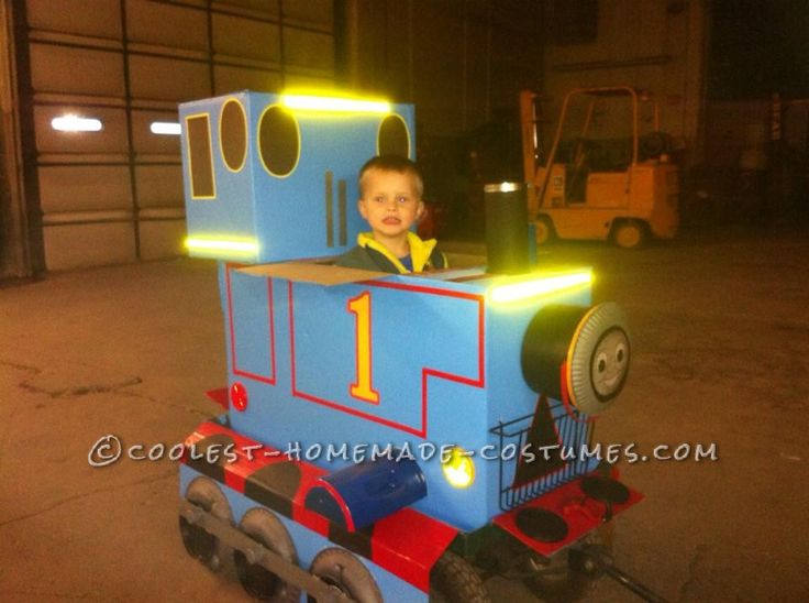 cool blue box thomas costume on a wagon and candy collecting smokestack - Halloween Box Costumes