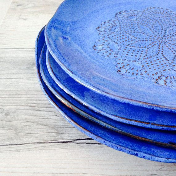 Reserved for Alexandra  blue  dinnerware Set by BlueDoorCeramics