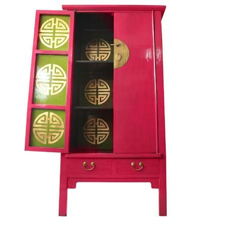Oriental Medium Cabinet, Hot Pink   BEAUTIFUL Funkiental A Line Cabinet  Available In Vibrant Colours