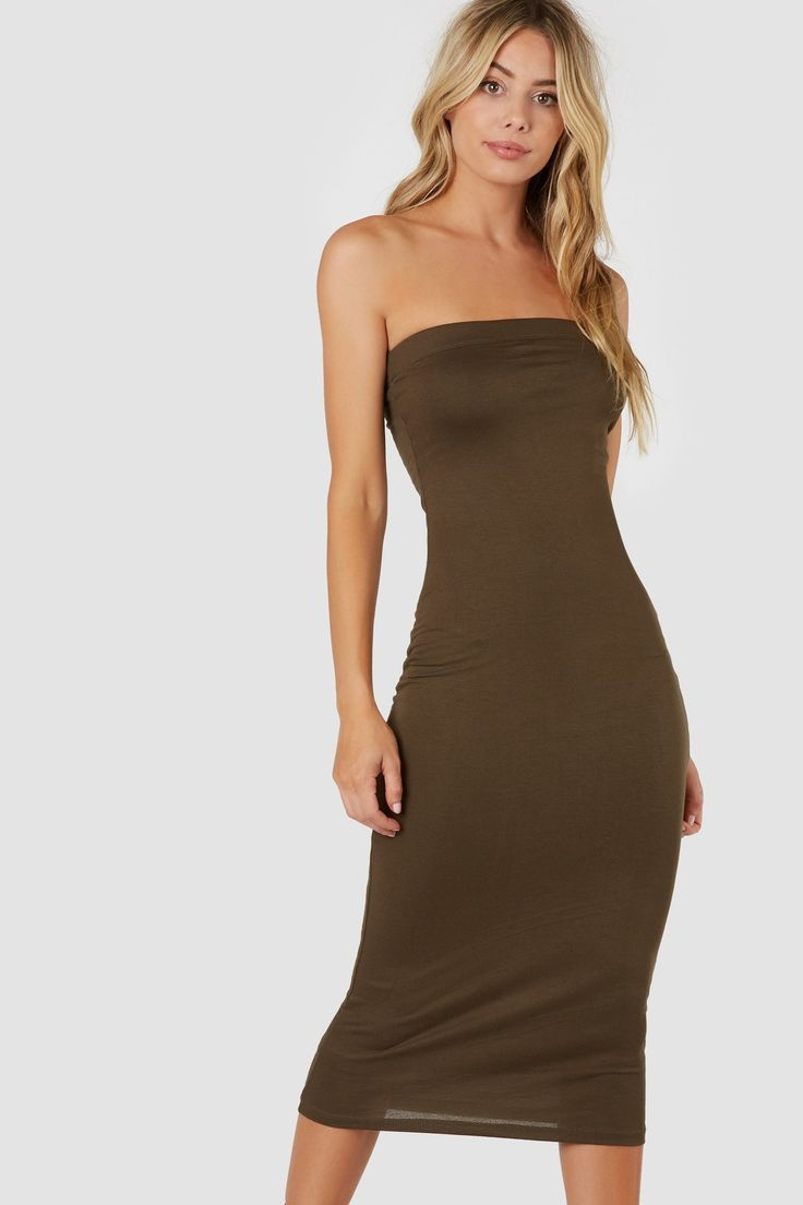 Classic strapless tube dress with bodycon fit and straight hem finish all around.