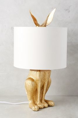 Anthropologie Gilded Hare Lamp Ensemble