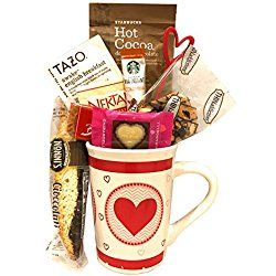 Valentines Gifts - Anniversary Gifts - Starbucks Coffee Gift Sets - Tazo Hot Tea Gift Sets - Starbucks Cocoa Gift Sets (Hearts)