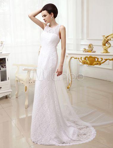 163€ Robe mariée en chiffon blanc avec dentelle de col rond traîne watteau-No.2