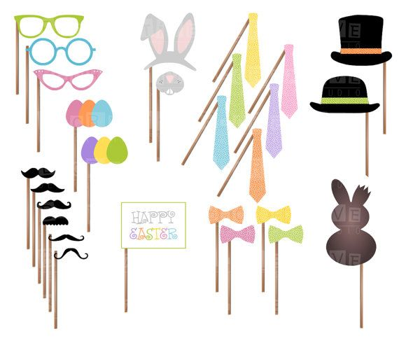 Easter Party Printable Photo Booth Props - Mustaches, Glasses, Ties, Bow ties, Hats, Eggs, Bunny Ears and Nose, Chocolate - INSTANT DOWNLOAD on Etsy, $7.90