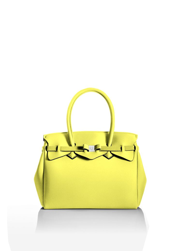 This iconic tote is available in over 30 colours to suit every style!   Light and versatile, the Miss bag is our collection's best seller. The covetable tote comes with a bow and interchangeable strap to make the bag customisable.  Size  340 x 290 x 180 mm  380g  Made in Italy  Vegan Friendly  Made from Poly-Lycra Fabric   Pastel Yellow