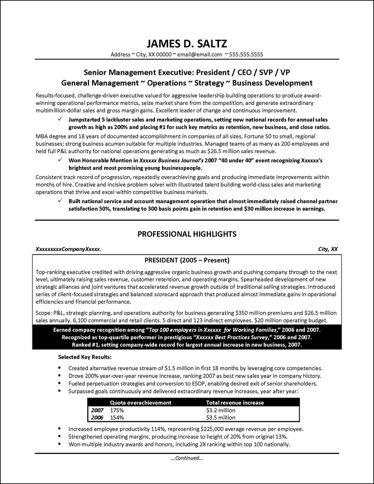 senior manager resume example