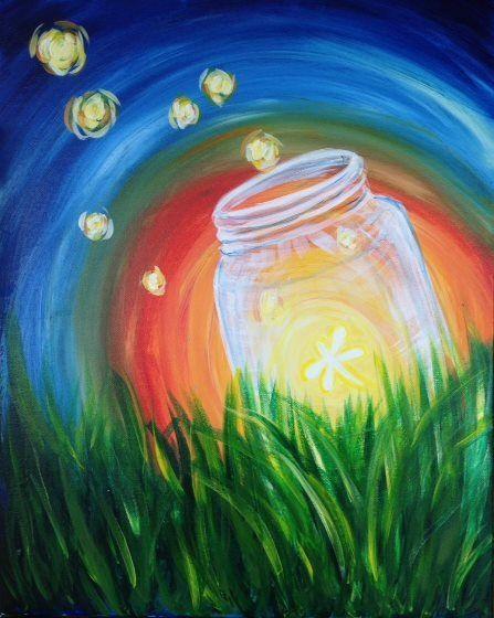 Fire fly in a jar beginner painting idea.