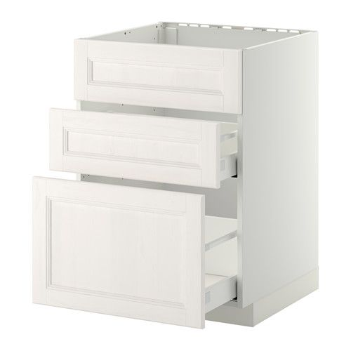 METOD / MAXIMERA Base cab f sink+3 fronts/2 drawers - white, Laxarby white, 60x60 cm - IKEA