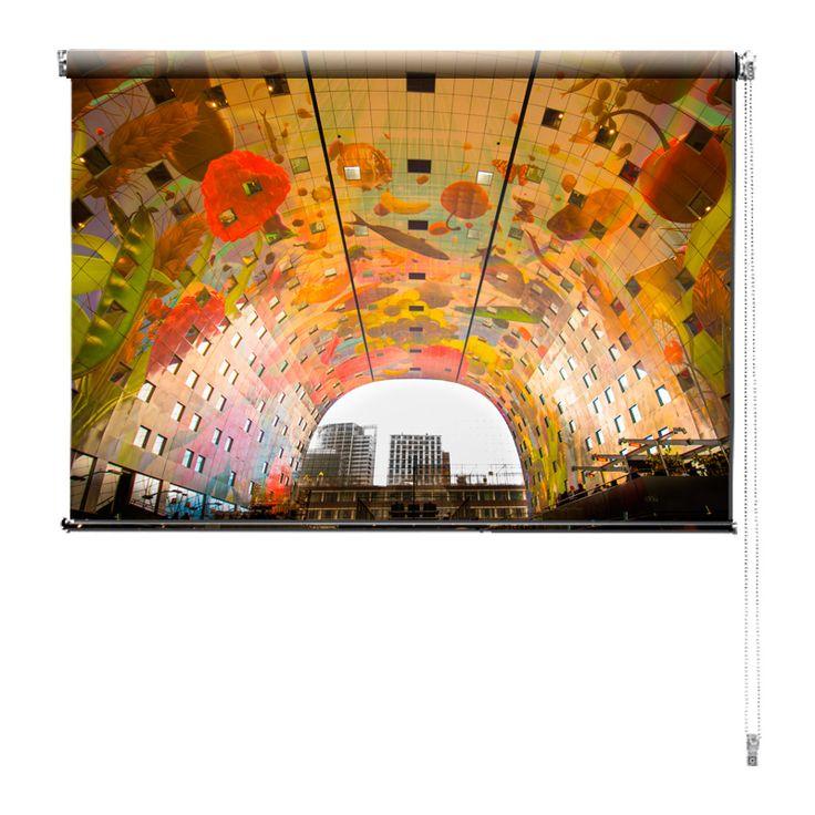 Rolgordijn Markthal | De rolgordijnen van YouPri zijn iets heel bijzonders! Maak keuze uit een verduisterend of een lichtdoorlatend rolgordijn. Inclusief ophangmechanisme voor wand of plafond! #rolgordijn #gordijn #lichtdoorlatend #verduisterend #goedkoop #voordelig #polyester #markthal #rotterdam #nederland #holland #architectuur #winkel #gebouw