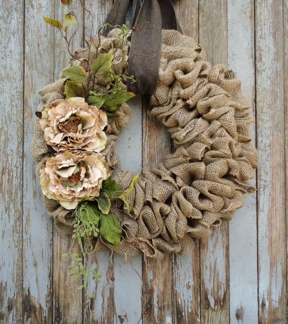 Jute krans met Beige Peony bloemenjute krans door WhimsyChicDesigns