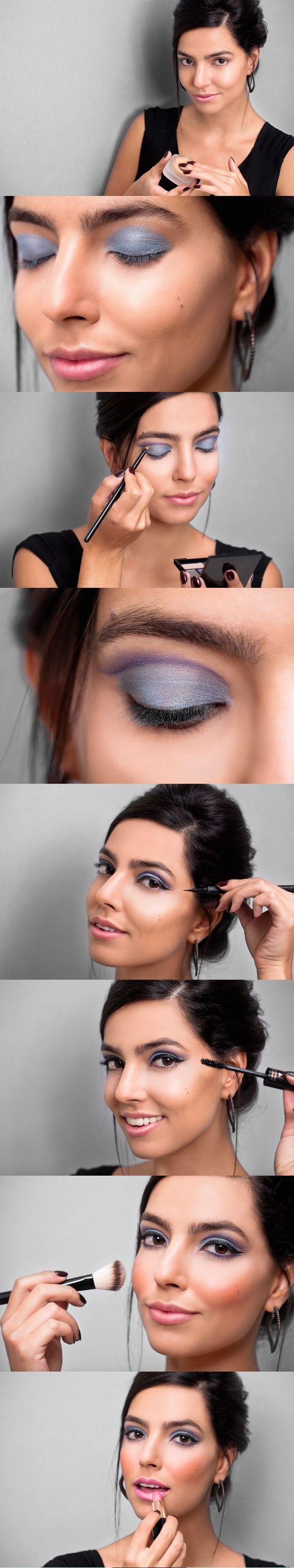 A maquiagem queridinha da década de 1960 se renova para a primavera. Atualize o traço gatinho usando sombras azul e roxa e modernize o look
