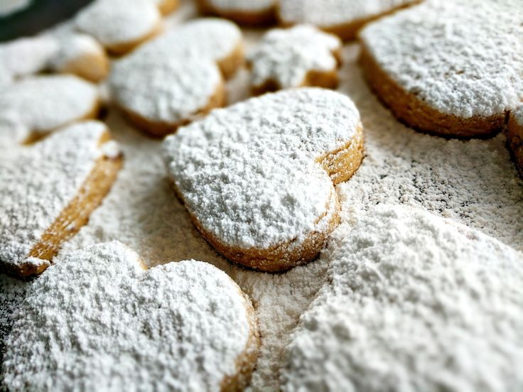 Snow-capped Kourambiethes. Best Greek Shortbread Cookies. Κουραμπιέδες.