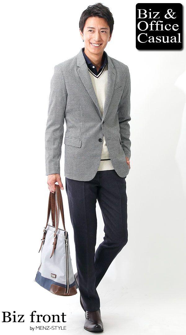 同窓会に着ていく服装コーディネート画像 千鳥格子ジャケット×ネイビースラックス×ホワイトセーター biz16-17aw_1990