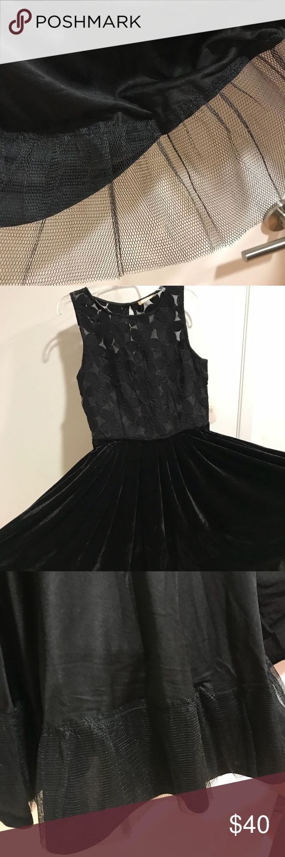 Black, fit flare lace and velvet, evening dress Add this lace, velvet black dress. Fit and flare party dresses for this holiday season!   Dress it up with sparkling earrings and bracelets for a perfectly party look! Sleeveless, Back zipper, 94%polyester, , 6% spandex lace, lining 100% polyester Hand wash cold water, line dry Imported altar'd state Dresses