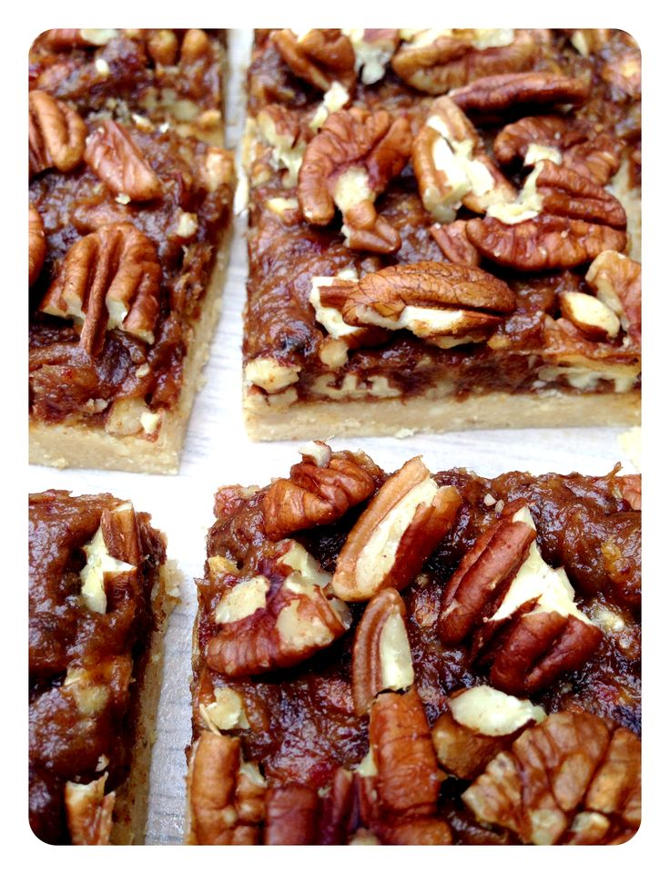 Raw Pecan pie bars, no bake, gluten free, dairy free. Cashew, dates, pecan, honey, coconut oil, cinnamon...