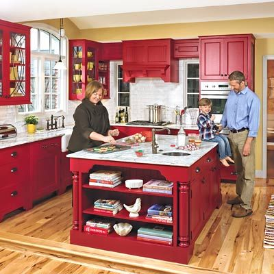 Country Kitchen, Red Cabinets, Furniture Style Island, Carrara Marble, Hardhood Floors, This Old House