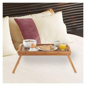 Sängbricka av bambu med hopfällbara ben
