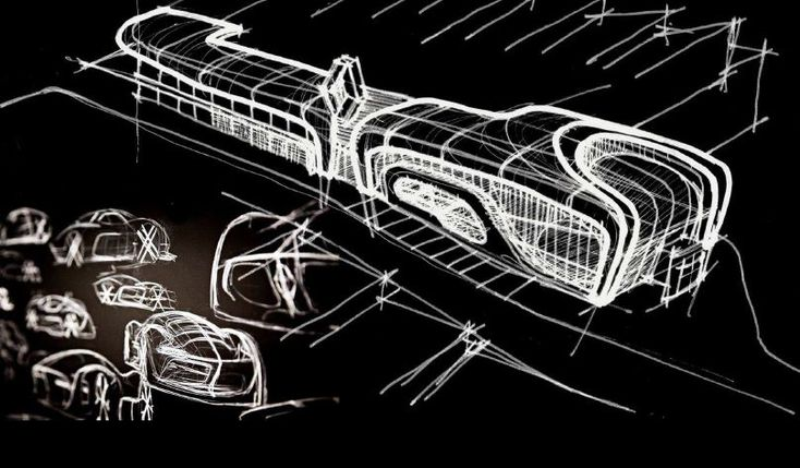 An early stage concept sketch of the Chapman Taylor designed renovation of a Renault Car dealership.  The dealership is located on the A1 road in Madrid, one of the busiest traffic routes in Spain.