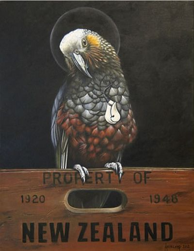 Saint Kaka - New Zealand parrot by Jane Crisp. imagevault.co.nz