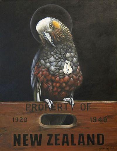 Saint Kaka - New Zealand parrot by Jane Crisp. imagevault.co.nz