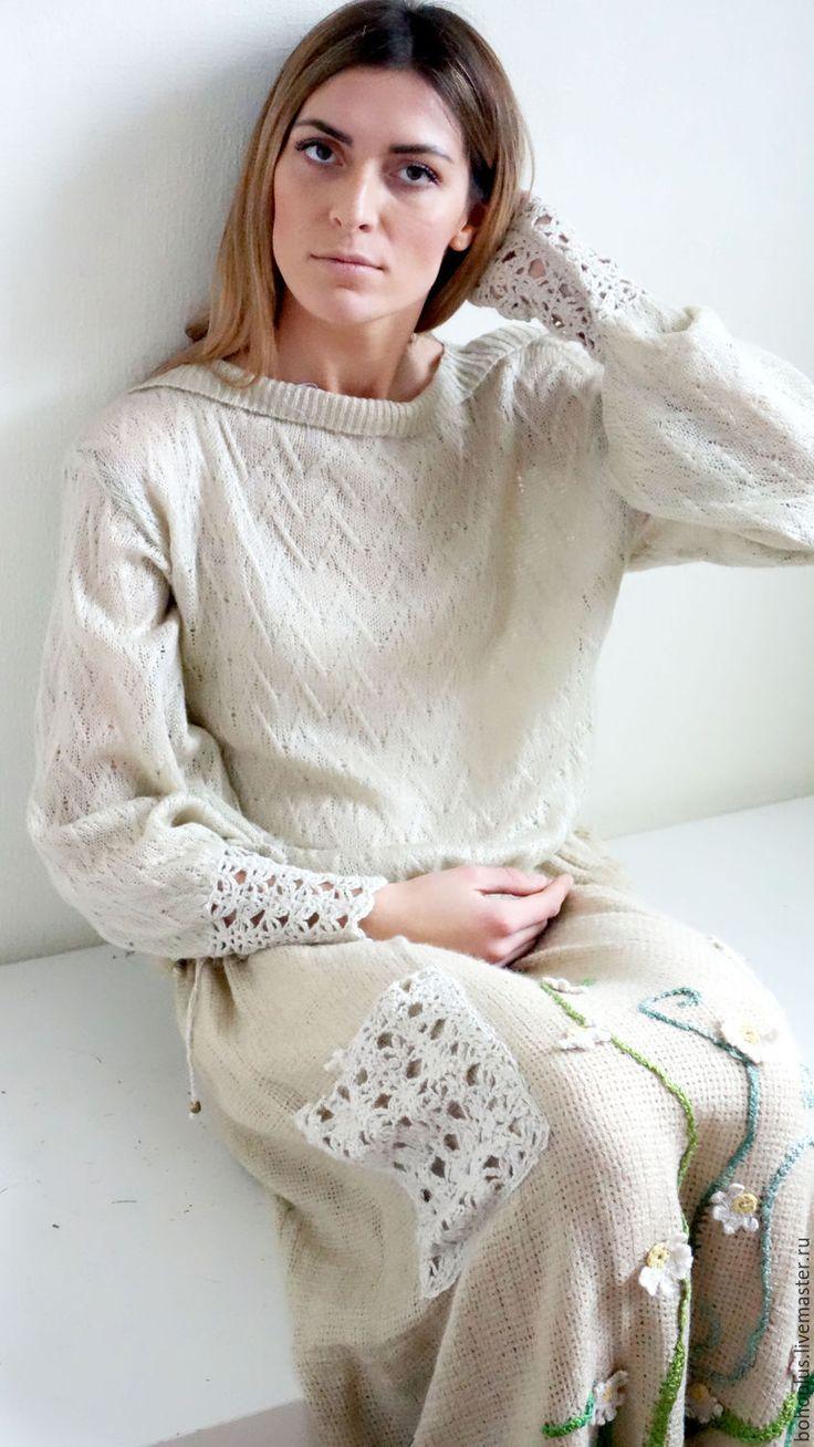 """Купить Платье в стиле бохо """"Евдокия"""" - белый, однотонный, платье, платье в пол, теплая одежда"""