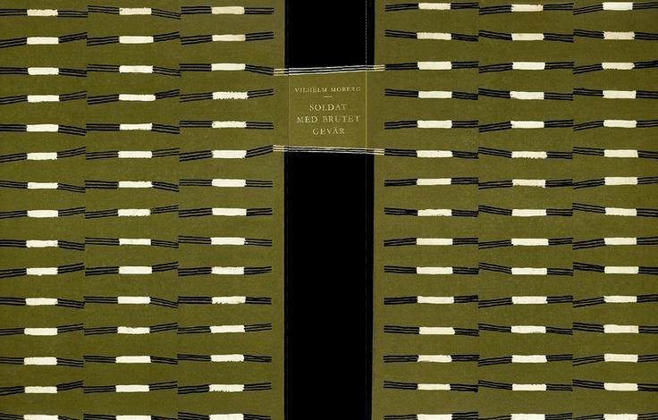 "Binding for ""Soldat med brutet gevär (Soldier with a broken rifle),"" 1955, by Swedish author Vilhelm Moberg. Designer unknown. via Book Cover Lover"