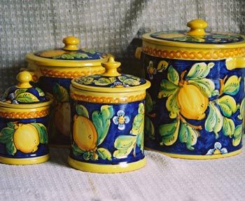 Gorgeous Blue Lemon canisters from La Giara factory