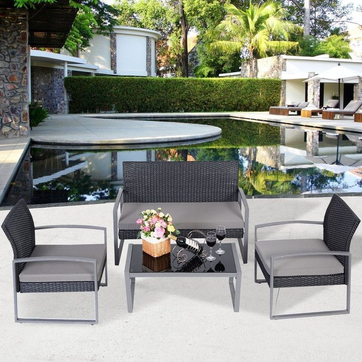 Costway 4 PCS Outdoor Patio Garden Black Rattan Wicker Sofa Set Furniture Cushioned, Patio Furniture