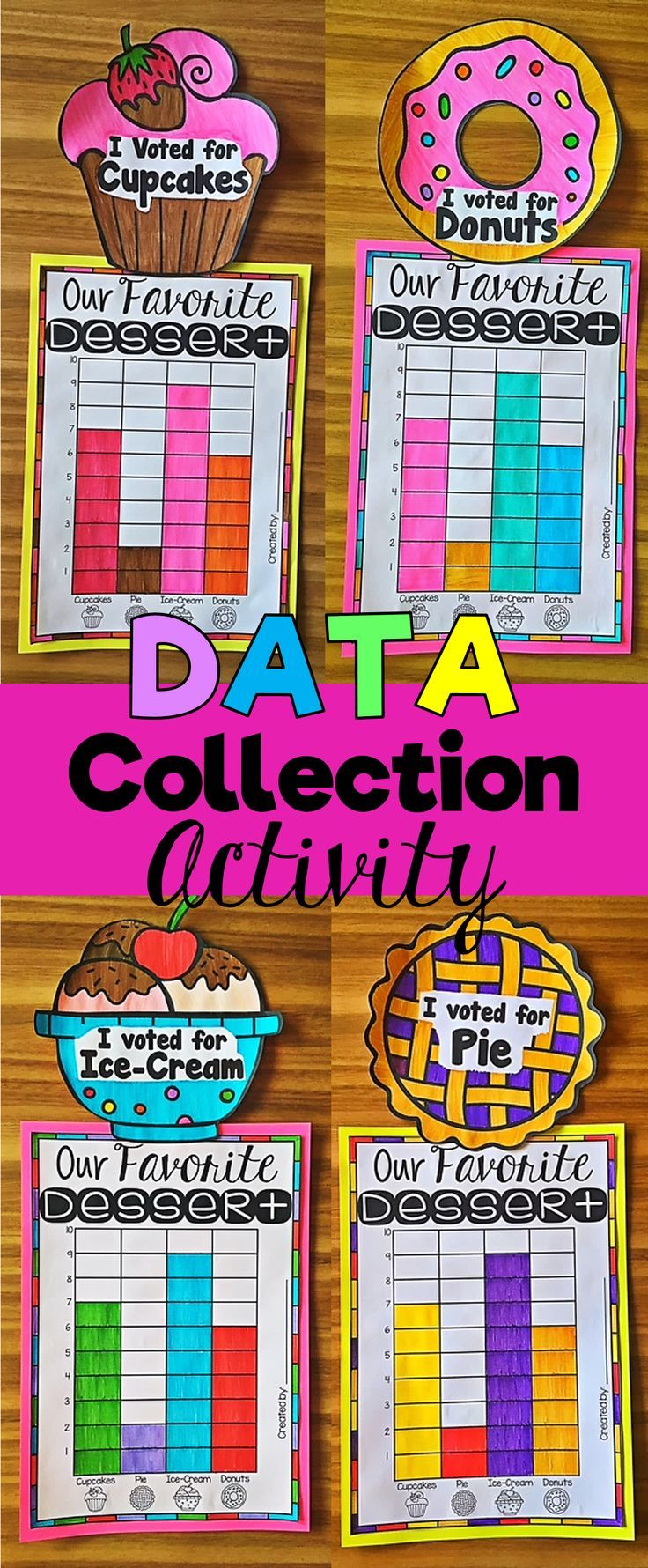 Data Collection Activity for the whole class. This data activity is a whole -class activity which has your students performing all the essential steps of data collection. The activity is based on students' favorite dessert. It begins with students voting for their favorite dessert (choosing from cupcakes, pie, ice-cream and donuts) and creating a tally chart using the results. Using their tally chart, they then create a bar graph to represent the results. Next, students answer a set of…