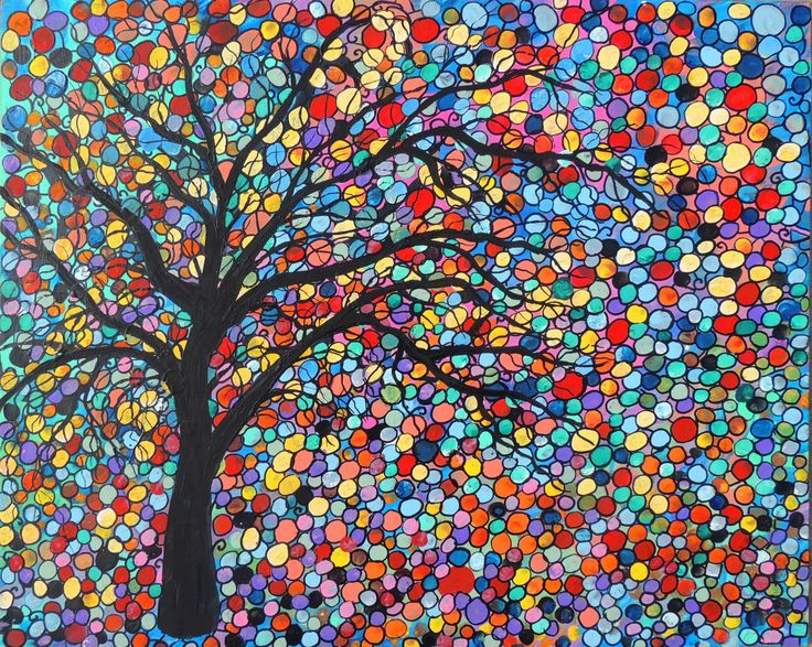 LOVE THIS!! Mosaic Woodland  Forest  Abstract  nature Tree Art  Trees Painting   landscape by suzeee. $250.00, via Etsy.