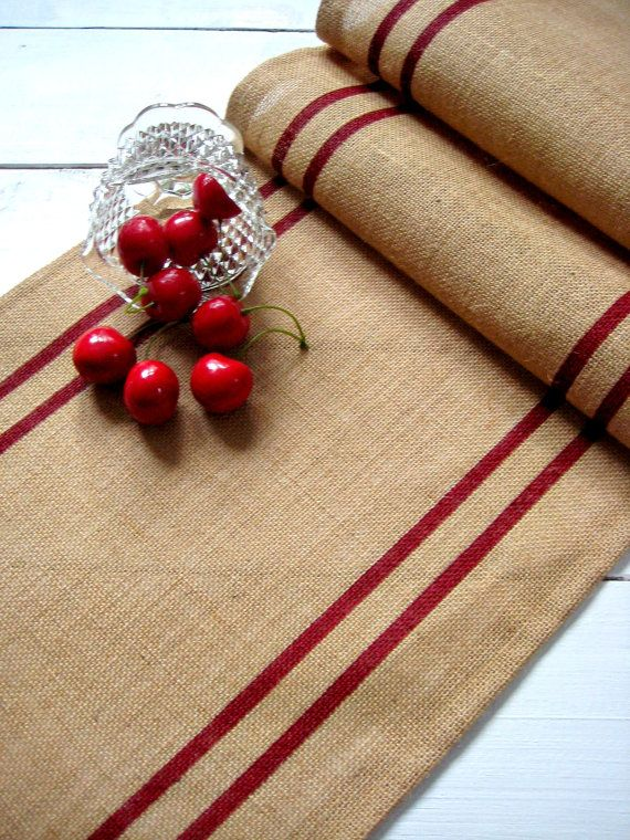 "Burlap Table Runner 16"" x 108"" with red grain sack stripes / Cottage Decor / Custom Gift / Western Decor / Coastal Decor / Beach Decor"