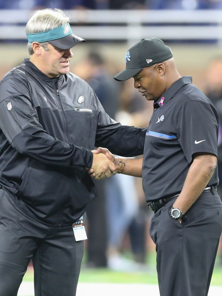 Eagles vs. Lions:  24-23, Lions, October 9, 2016  -       Detroit Lions head coach Jim Caldwell talks with the Philadelphia Eagles head coach Doug Pederson on October 9, 2016 at Ford Field in Detroit.  Kirthmon F. Dozier, DFP