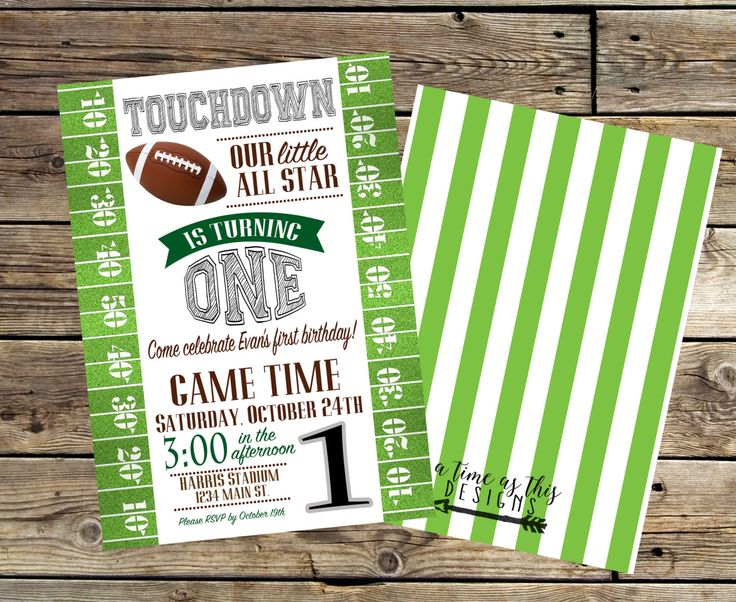Football Birthday Invitation by ATimeAsThisDesigns on Etsy https://www.etsy.com/listing/250435180/football-birthday-invitation