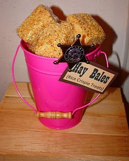"Rice Crispy ""Bales of Hay"" for cowgirl party! Addie does love her cowboy boots..."
