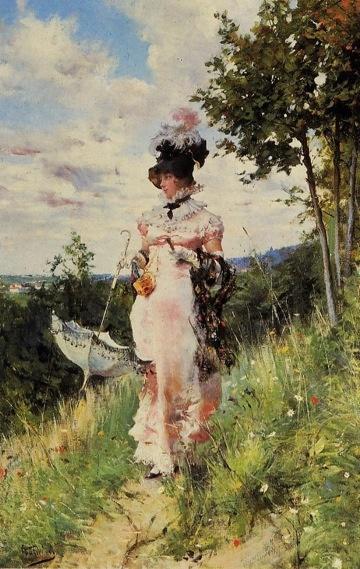 'The Summer Stroll', by Giovanni Boldini (Italian,1842-1931)