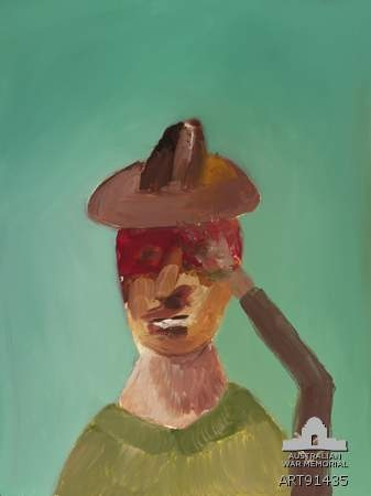 Head of Gallipoli soldier saluting (1977) by Sidney Nolan. From his Gallipoli series. From the Australian War Memorial.