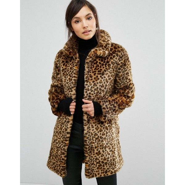 Oasis Animal Print Faux Fur Coat ($79) ❤ liked on Polyvore featuring outerwear, coats, brown, fake fur lined coats, brown faux fur coat, animal print faux fur coat, tall coats and faux fur coat