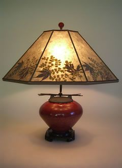 Very pretty.  Asian Red Raku Fetish Pot Mini Table Lamp, Mica Lamp shade with natural foliage