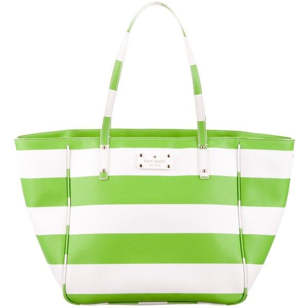 Pre-owned Kate Spade New York Vinyl Striped Tote ($130) ❤ liked on Polyvore featuring bags, handbags, tote bags, green, kate spade tote, tote purses, tote handbags, green tote bag and zipper tote