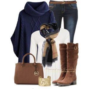 Burberry Haymarket & Navy Poncho Sweater