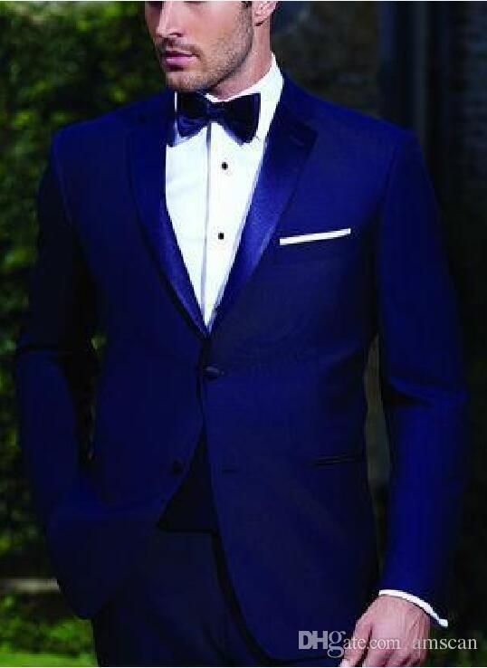 Mens Suits Slim Fit Peaked Lapel Royal Blue Wedding Tuxedos For Groom 2018 Groomsmen  Suits Two Buttons Men Suit Jacket Pants Black And White Attire For Men ... 2de442495fc1
