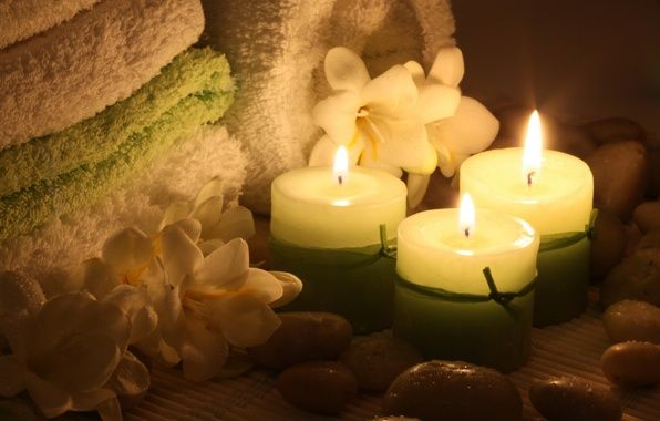 Wallpaper spa, spa stones, towel, flowers, candles, spa ...