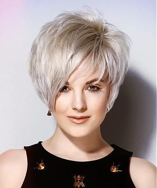 A Short Blonde straight layered coloured white platinum sculptured womens haircut hairstyle by L Salon