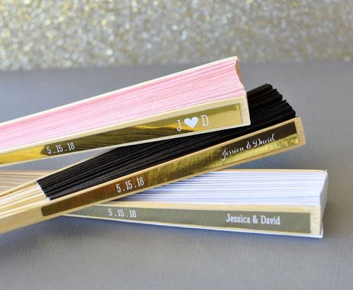 Personalized Paper Fans with Metallic Foil Labels (17 Colors)