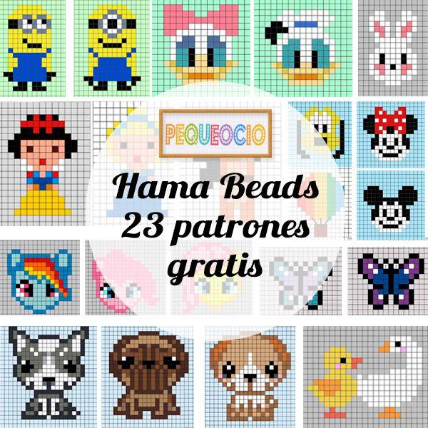 ¿Os gustan las manualidades con Hama Beads? Os dejamos 23 patrones fáciles ¡para descargar gratis! princesas, personajes Disney, perritos, lazos, mariposas, etc