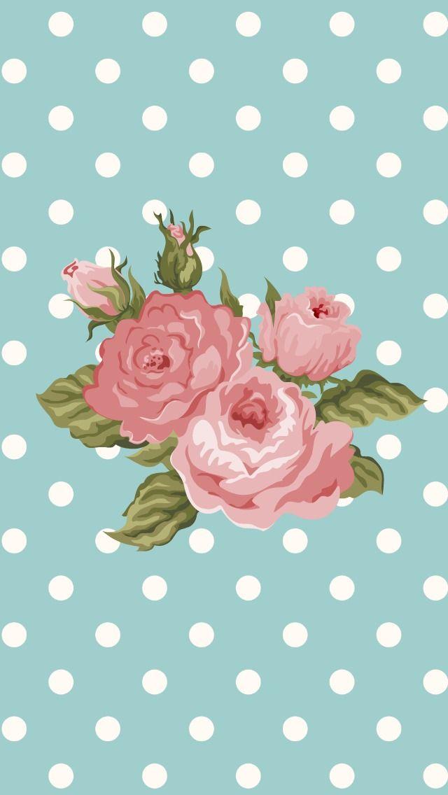 Floral roses spots iphone phone wallpaper background lockscreen