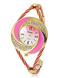 Diamante Γύρος Γυναικών Dial Κράμα Band χαλαζία Αναλογικό ρολόι βραχιόλι (διάφορα χρώματα)