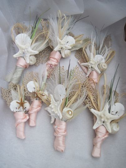 Tiny shells, whimsical rushes and pink satin are a surprisingly effective combination! These will work well for groomsmen and bridesmaids or mothers.