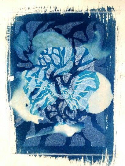 """Ocean Currency"" lino prints on cyanotype on Stonehenge Paper by Cholena Drew Hughes 2015"